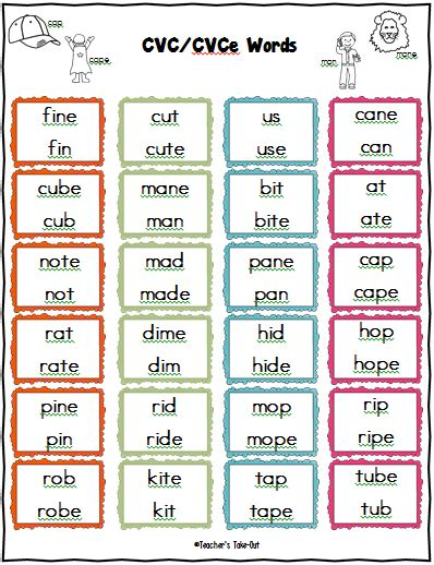 vce pattern words list teacher s take out long and short vowel games and centers