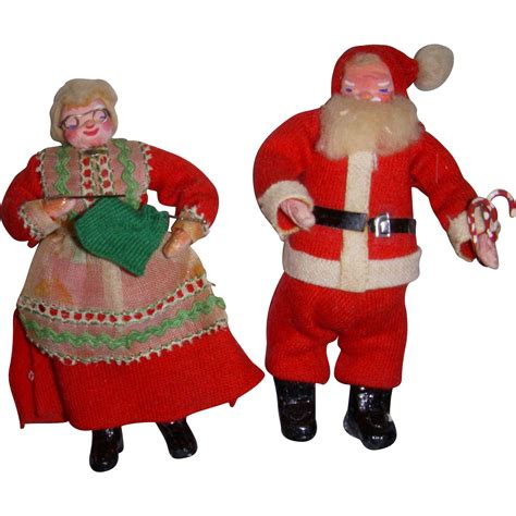 vintage dollhouse santa mrs claus dolls from