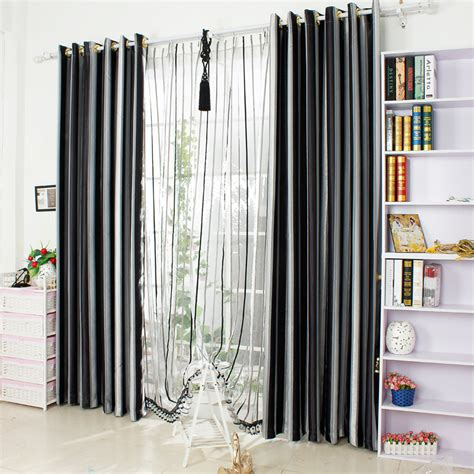 striped blackout curtains new home decor window modern yarn dyed black white striped