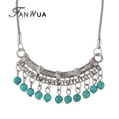 026cf1 Color Geometric Necklace Silver Color fanhua vintage style antique silver color with blue geometric pendant necklace