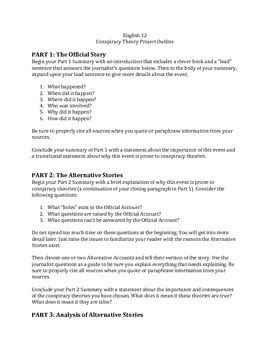 Research Paper Bible Word Study by Conspiracy Theory Research Project Essay Outline Tpt