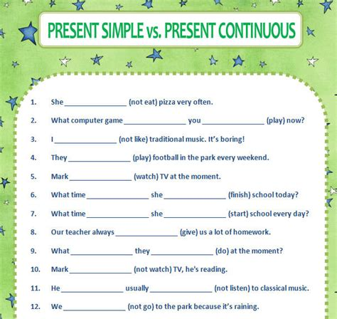 Simple Present Present Continuous Worksheet by Present Simple Vs Present Continuous