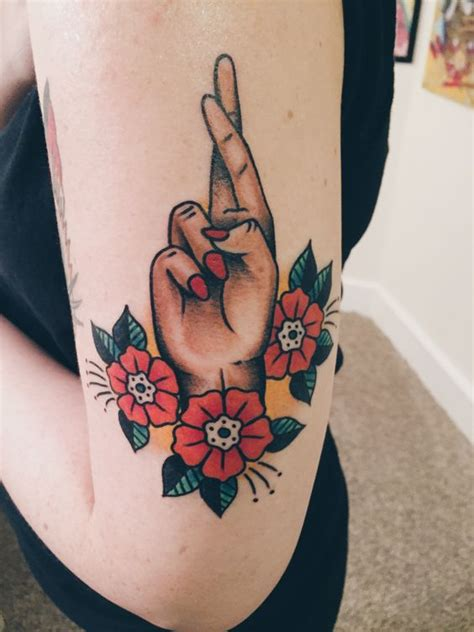 imgur tattoo fingers crossed by barrett fiser at electric