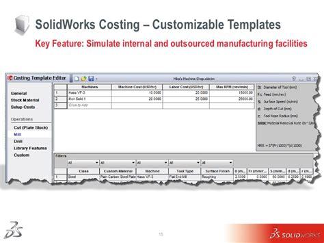 Solid Works Costing Overview And Details 10 13 2011a Solidworks Costing Template