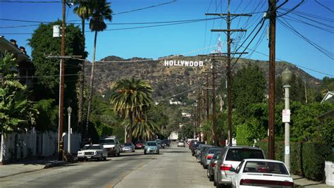 hollywood sign from street los angeles usa april 3 2013 famous landmark iconic