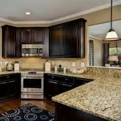 Dark Kitchen Cabinets With Light Granite Countertops by Dark Wood And Another Corner Stove Kitchen Ideas