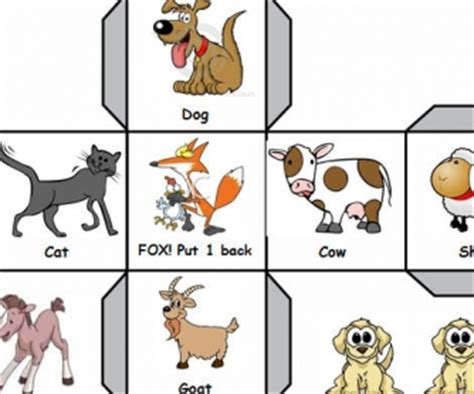 printable animal dice farm animals fun roll the dice game