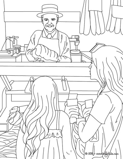 butcher working in his shop coloring pages hellokids com