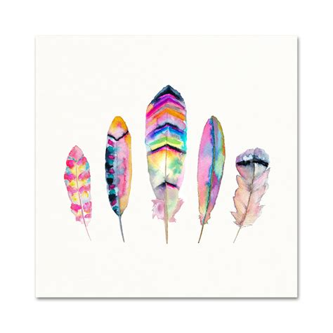 printable watercolor art watercolor feather art print pink blue purple tribal