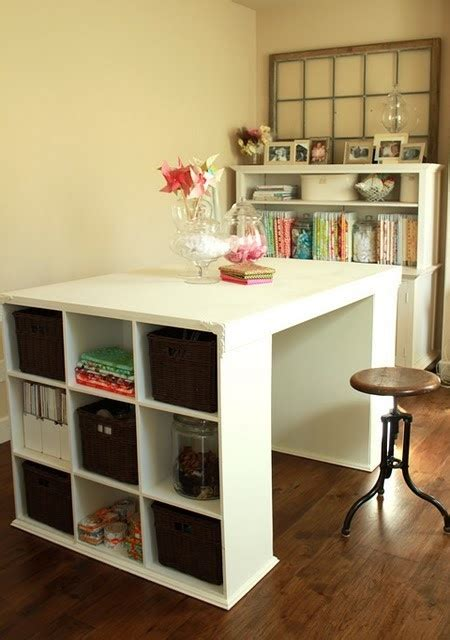 bookshelf desk island craft station diy projects
