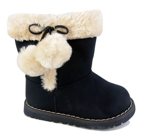 baby girls pom pom winter boots cosy fur lining infant