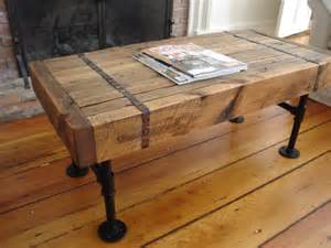 reclaimed wood pipe coffee table