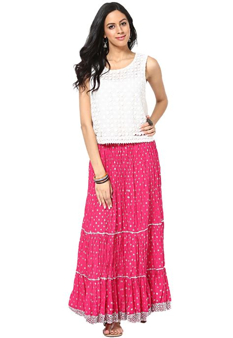 Indian Summer Lindsay Skirt Set printed cotton skirt in fuchsia brj31