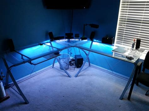 gaming desk led lights led desk lighting gaming set up ideas