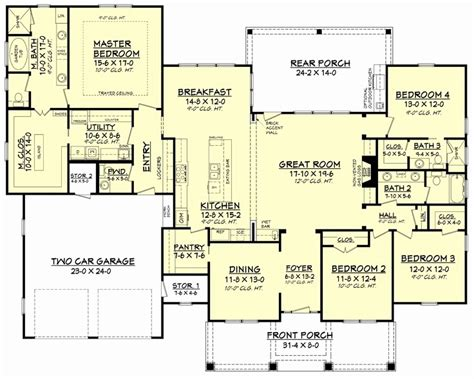 one story house plans with great room new 4 bedroom house