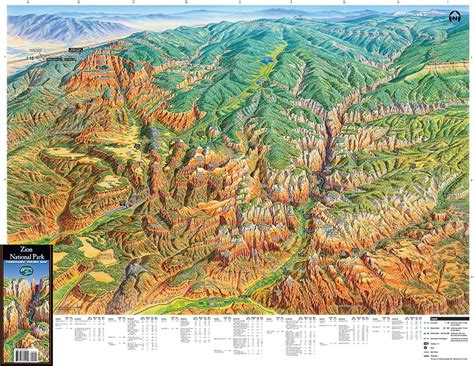utah elevation map zion national park utah trail tracks panoramic hiking maps