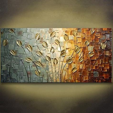 wall decoration paintings unframed handmade texture knife flower tree abstract