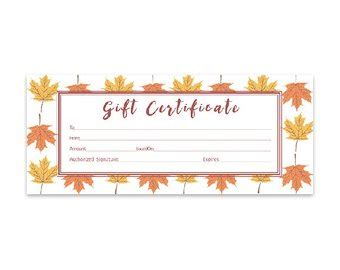 thanksgiving gift card template autumn leaf template etsy