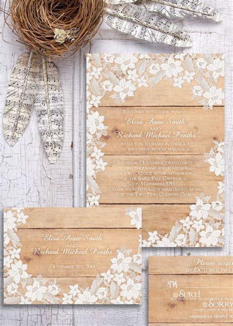 wood wedding invitations rustic wedding invitation wood and lace wedding
