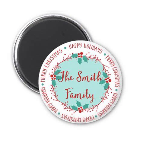 mistletoe wreath personalized christmas magnet favors