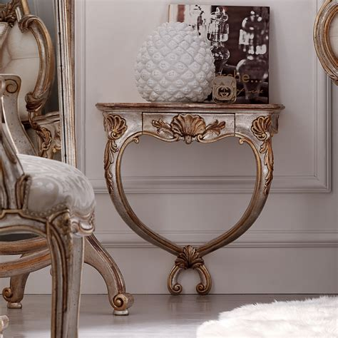 white ornate console table ornate rococo wall mounted bedside table