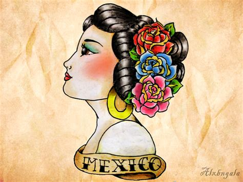 mexican pin up girl tattoo designs mexican flash by alxbngala on behance