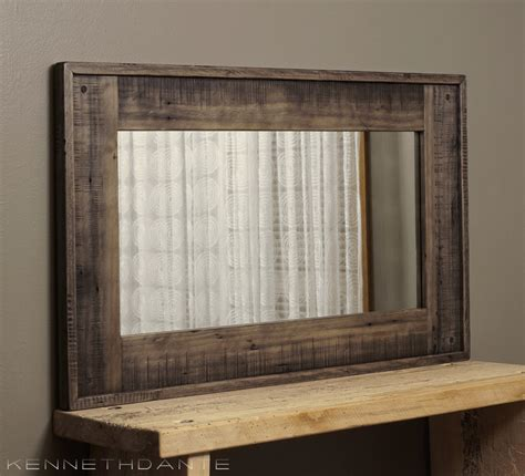 wood framed mirror reclaimed barnwood large by kennethdante