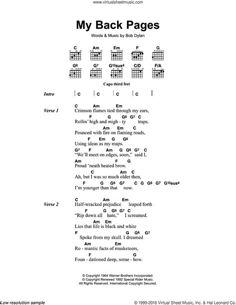 the byrds christmas songs my back pages sheet for guitar chords