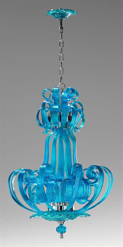 chagne glass turquoise glass chandelier lea aqua blue glass balls