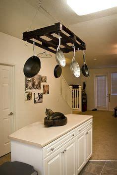 home improvements pallet pot rack a greenpoint kitchen pot rack made out of an old pallet pallet ideas