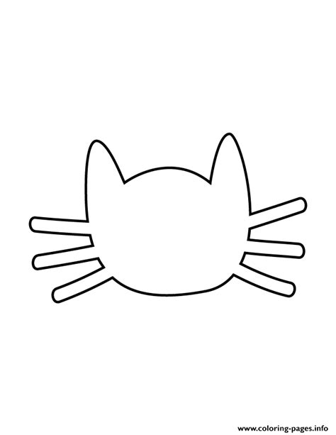 cat face with whiskers stencil coloring pages printable