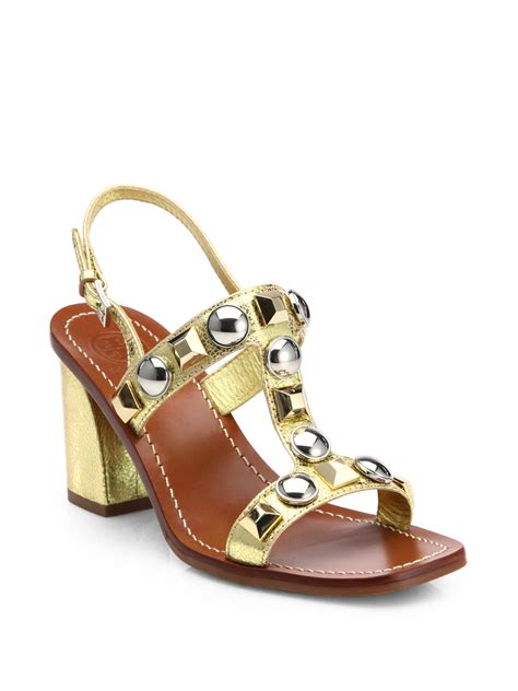 gold burch sandals burch studded sandals in gold lyst