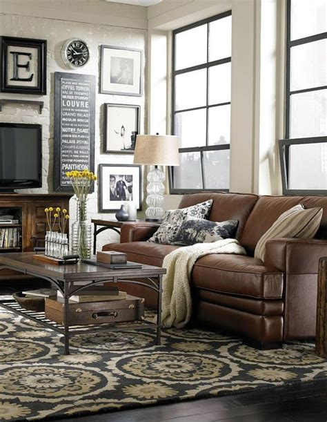 leather sofa living room ideas brown leather sofa decorating living room ideas meliving