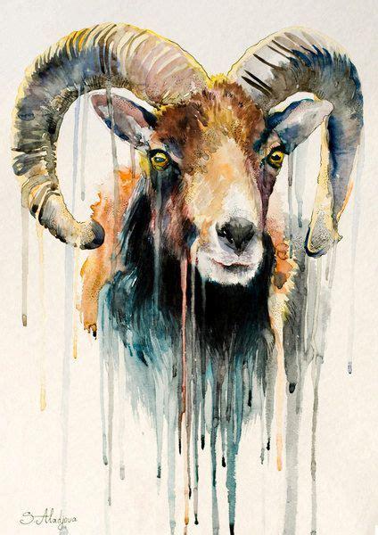 free animal painting original watercolour painting ram goat animal