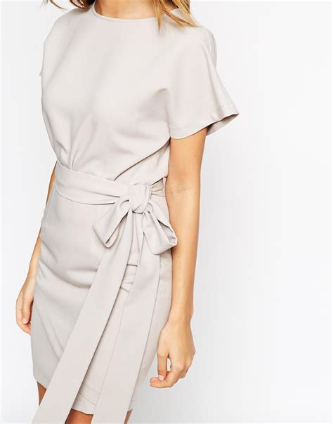 Obi Style Sash Belt At Asos asos pencil dress with wrap skirt and obi belt in gray lyst