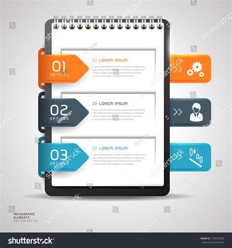 notebook design template modern design button creative notebook paper stock vector