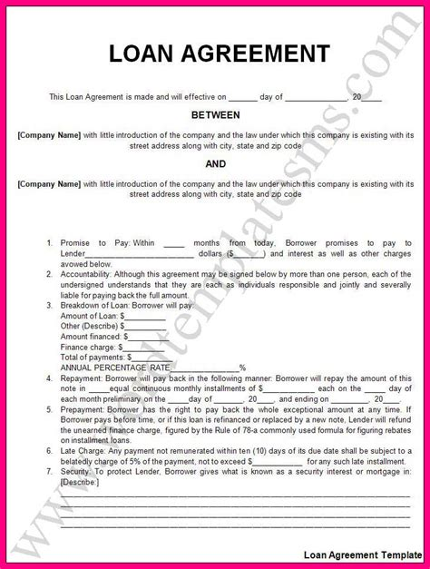 auto finance contract template 13 auto loan contract template