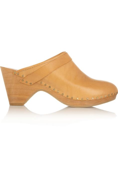 wooden clogs for marant towson leather and wooden clogs in orange