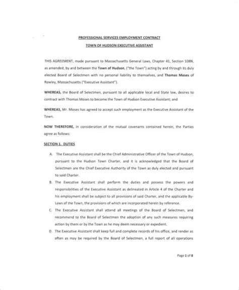 ceo employment contract template executive employment contract sle 9 exles in word