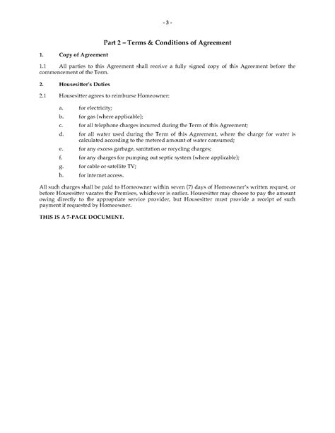 house sitting agreement template legal forms  business templates megadoxcom