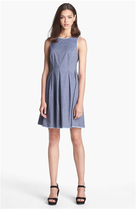 light blue fit and flare dress donna morgan chambray fit flare dress in blue dark blue