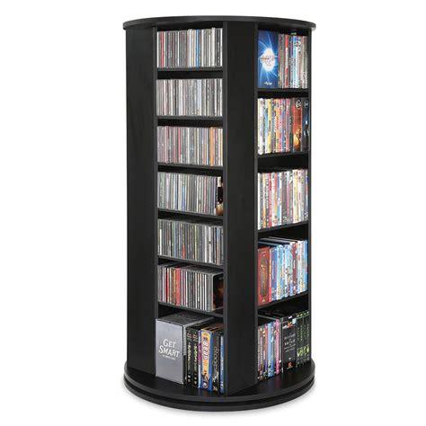 dvd storage tower the space saving rotating cd dvd tower hammacher schlemmer