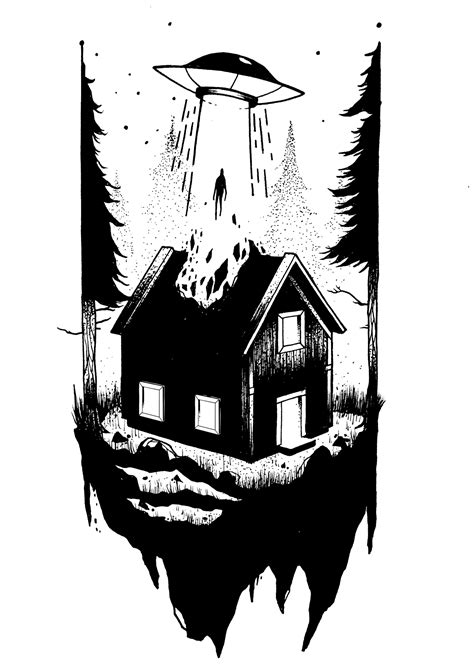 "prakashkc: ""I want to leave. "" #art #drawing #house #alien"