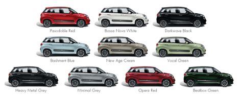Fiat 500 Colour Chart Fiat 500l Low Cost B Segment Low Road Tax Fiat 500