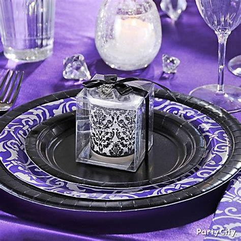 purple silver and black plates my 30th b day ideas
