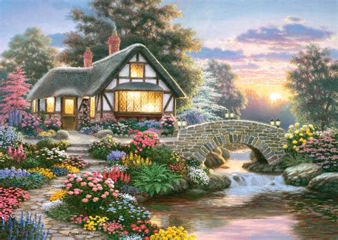 Country Cottage Cross Stitch serenity cottage 1000 piece puzzle by castorland