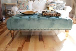alfa img showing gt blue tufted ottoman