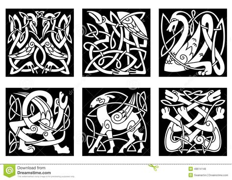celtic style animals on black