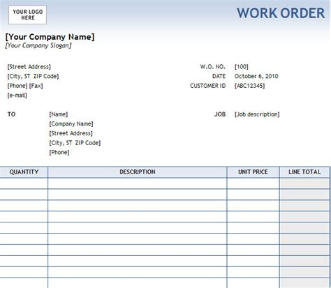printable excel free work order templates project