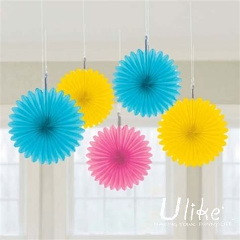 Coloured Paper Craft Ideas - 10 10ps mixed color honeycomb flower lantern fan design